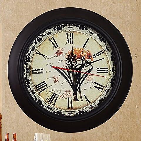 ZHGI Cadeau de Noël de la mode créative américano-retro horloge murale quartz silencieux la table du salon réveil grands tableaux muraux classic nostalgia,UN