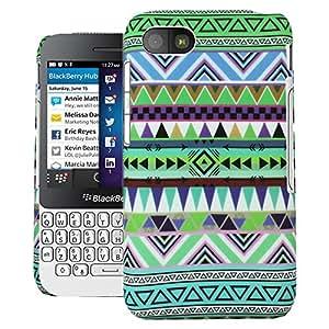 Heartly Aztec Tribal Art Printed Design Retro Color Armor Hard Bumper Back Case Cover For BlackBerry Q5 - Nature Green