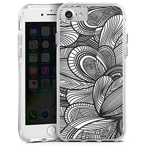 Apple iPhone 8 Bumper Hülle Bumper Case Glitzer Hülle Leaves Blaetter Black White Bumper Case transparent
