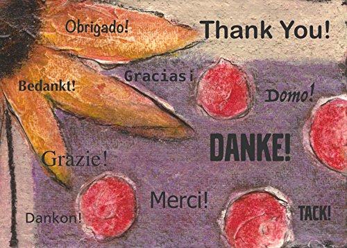 Dankeskarten Grußkartenset Danke mit floralem Motiv/Blumen (12 Karten/Set)