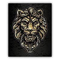 Lion Door Knocker Car Bumper Sticker Decal 10 x 12 cm