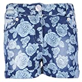 Cutecumber Girls Denim Floral Blue Shorts (CC456B-Blue-36)