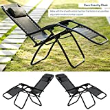 Life Carver zero gravity chairs Garden Chairs Sun Loungers Garden Patio Yard Poolside Pool Lounge Chair Seat Relaxer Armrest Camping Chair Zero Gravity (Set of 2, Black)