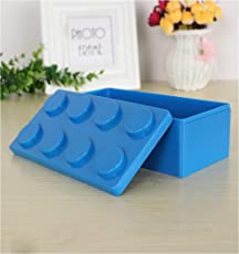 TheTickleToe Lego Style Plastic Colorful Drawer Organizer Jewelry Box Office Desk Drawer Home Storage Gift Candy Pencil Small Items Box Kids Adults Stationary Clips Pen Gift Box 1 Piece Blue