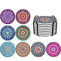 Absorbing Stone Mandala Coasters for Drinks - Cork Base, with Holder, Unique Present for Friends, Men, Women, Funny Birthday Housewarming Gifts, Apartment Kitchen Room Bar Decor, Set of 8