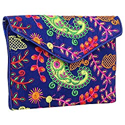 Maatangi Paisley Pattern Evening Clutch, 9 x 6 Inches, Beige (Blue)