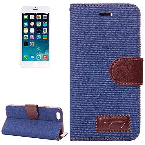 Phone case & Hülle Für IPhone 6 & 6S, Denim Texture Horizontale Flip Leder Tasche mit Card Slots & Halter ( Color : Dark Blue ) Dark Blue