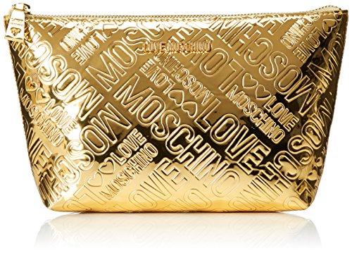 Love Moschino Damen Bustina Embossed Patent Pu Oro Clutch, Gold (Gold), 14x24x7 cm (Embossed Handtasche Gold)