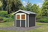 Karibu Gartenhaus HARBURG 4 terragrau Gerätehaus 242x217cm