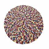Teppich BILLBO 100 Filzbälle Wollteppich bunt Handarbeit