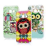 MAXFE.CO 3 x TPU Silikon Hülle für Samsung Galaxy A3 (2017) Handyhülle Schale Etui Protective Case Cover Rück mit Ultra slim Skin Aquarell Malerei Design Skin Farbe OWL 1 OWL 2 OWL 3