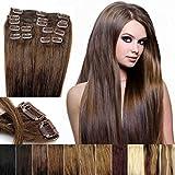 OUBO 100% Remy Clip-In Extensions Set 17 Clips 9 Teilig Echthaar Dicke Haarverlängerung Haarverdichtung Haarteil Glatt 11 Farben, 10# Hellbraun 50cm