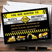 Digger Jcb Construction Builder Theme Personalised Birthday Party Invitations / Invites & Envelopes