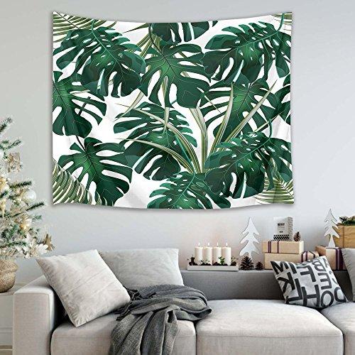 Monstera tropische Pflanzen Bild drucken Wandbehang Tapisserie Strand Tisch Tuch Tuch Wohnaccessoire 200 Breite x 150 Höhe cm