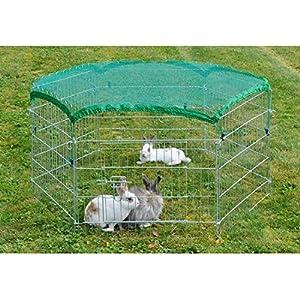 Kaninchen und Kleintier Freigehege Welpen Auslauf inklusive Schutznetz