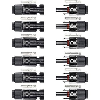 Sourcingmap Pair MC4 Male Female Y Shape Branch Solar Panel Cable Wire Photovoltaic Connectors