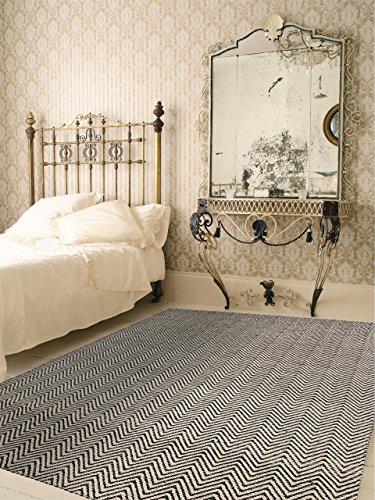 benuta Teppich Matrix Ives Schwarz/Weiß 160x230 cm | Moderner Teppich für Wohn- und Schlafzimmer (Schwarz Und Weiß Chevron Teppich)