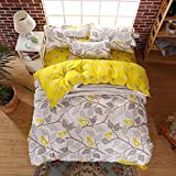Ahmedabad Cotton Comfort 160 TC Cotton Double Bedsheet with 2 Pillow Covers - Grey and Yellow
