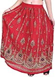 Exotic India Long Skirt With Printed Flowers and Embroidered Sequins - Color Mars RedGarment Size Free Size