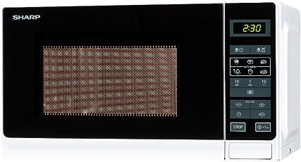 Sharp R-242WW Mikrowelle / 20 L / Weiß / 800 W / Auto-MinutenStart / Kurzzeitmesser 8 Gar- und Auftau-Automatik-Programme / Garraumbeleuchtung