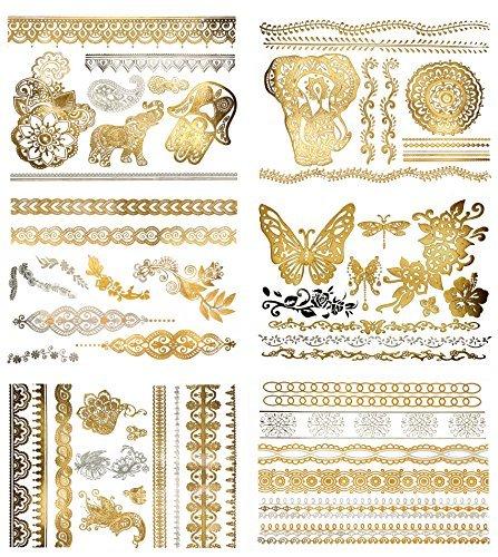 Premium metálico tatuajes Henna-75+ temporal falso Shimmer-joyas tatuajes Henna, Mandala, Alheña, Boho diseños en oro y plata (Dawn colección)