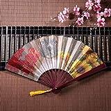 EIJODNL Ventilatori Cinesi Cucciolo Seduto in Una Grande pentola di Fiori con Cornice di bambù Nappa Pendente e Borsa di Stoffa ventilatori Mani Fan antichi Giapponesi Fan piegati a Mano