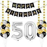 Bluelves Palloncini 50 Anni Compleanno, Kit Decorazioni 50 Compleanno, Palloncini Numeri 50 Argento 102 CM, Happy Birthday St