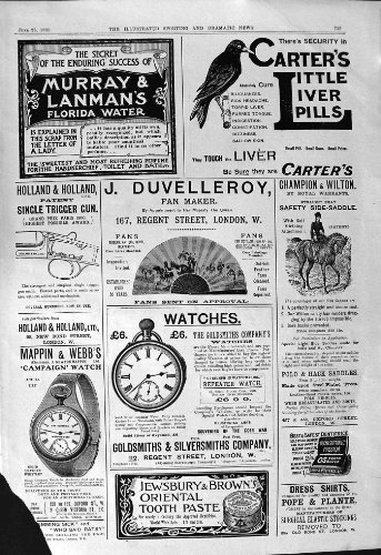 old-original-antique-victorian-print-1901-carters-pills-duvelleroy-mappin-maple-watches-sarah-miskel