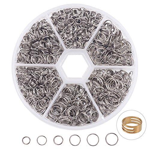 PandaHall Elite 1120 STK 304 Edelstahl Split Ringe Double Loop Jump Ring Außendurchmesser 5-8mm 1 Box für Schmuck Machen - 8 5 Split-ring
