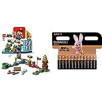 LEGO Pack de Démarrage Les Aventures de Mario + Piles alcalines AAA Duracell Plus, 1.5V LR03 MN2400, Paquet de 12