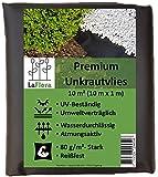 LaFlora - Premium Unkrautvlies 80 g/m² - 10 m² Extra reißfestes und gut wasserdurchlässiges Gartenvlies - bekämpft Unkraut langfristig ohne Chemie - Unkrautsperre für Ihren Garten und Blumenbeet