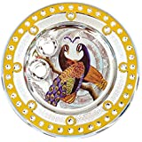 Icrafts India Diwali Yellow Pooja Puja Thali Tilak Decorative Platter Set
