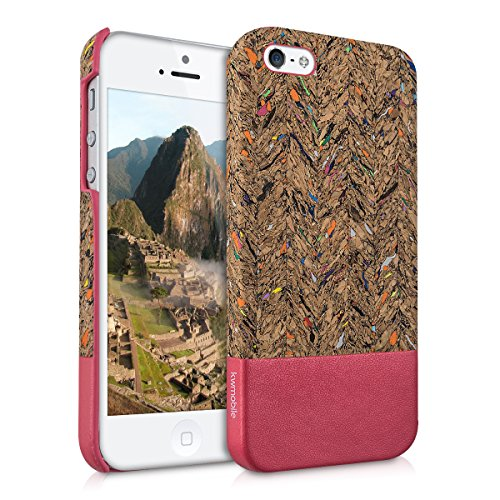 kwmobile Hardcase Hülle für Apple iPhone SE / 5 / 5S - Backcover Case Schutzhülle Cover in Recycle Wellen Fläche Design Mehrfarbig Pink Hellbraun