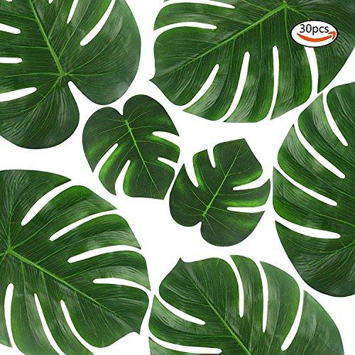 Outuxed Tropische Blätter (35 cm und 20 cm) Palmblätter künstliche Pflanzen Blatt Dekoration(30 Stück)