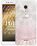 Sunrive Für Alcatel 3C Hülle Silikon, Transparent Handyhülle Schutzhülle Etui Case für Alcatel 3C(TPU Blume rosa)+Gratis Universal Eingabestift