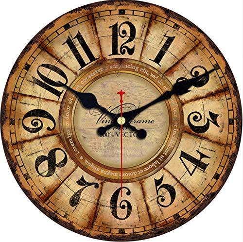 Knncch Vintage Holz Uhren Kurze Design Stille Home Cafe Büro Wand Dekor Uhren Für Küche Wand Kunst Große Wanduhren-16Inch