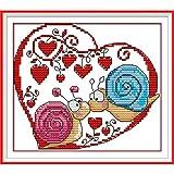 soxid (TM) DIY hecho a mano Costura de Punto de Cruz Set bordado Kit 14ct caracol parejas patrón Cruz Decoración del hogar
