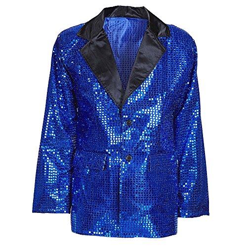 Widmann 8790H Pailletten Jacke mit Samtaufschlag, (Blaue Kostüme Ideen)