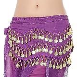 Lonshell Hüft-Tuch für Bauchtanz Münzgürtel Strandtuch Bauchtanz Hüfttuch Kostüm Chiffon Rock Wrap Gold Münze Taille Gürtel Belly Dance Skirt