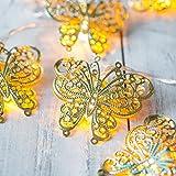 10er LED Lichterkette goldene Schmetterlinge batteriebetrieben Oster Deko