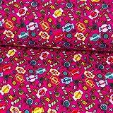 Baumwolljersey Süßigkeiten bunt pink Kinderstoffe - Preis