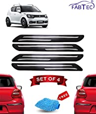 FABTEC Rubber Car Bumper Protector Guard with Chrome Strip for Maruti Ignis (Set of 4) Black (Double Chrome)