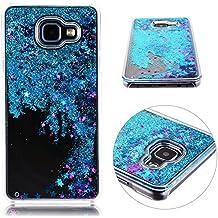 Glitter Liquid Case para Samsung A5 (2016) HB-Int Transparente Tapa Trasera Dura de Lujo Star Sparkle Funda Protectora Cool 3D Liquid Plastic Funda de Teléfono Móvil Funda de Bling Fina Azul Lentejuel