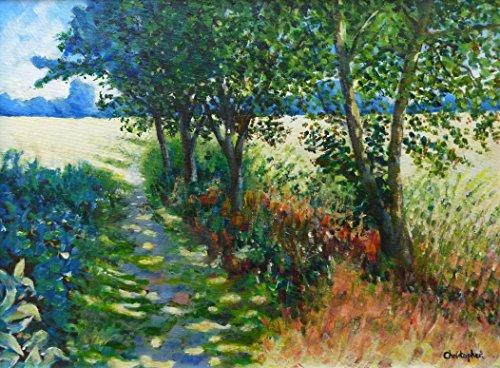 sentiero-per-pedoni-40-cm-x-30-cm-pittura-sentiero-paese-luce-ombre-alberi-idea-regalo-incantevole-b