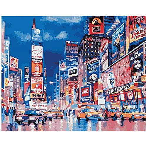 FULLLUCKY Malen Nach Zahlen DIY Geschäftigen Times Square Landschaft Leinwand Hochzeit Dekoration Kunst Bild Geschenk