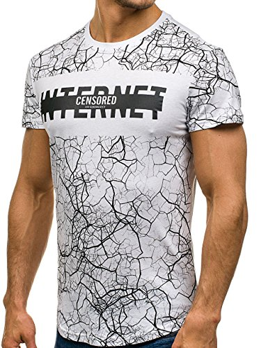 BOLF �?T-shirt con maniche corte �?Stampa �?Basic �?Uomo [3C3] Bianco