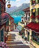 5D Diamond Painting Kit Bricolage en strass en broderie Cross Stitch Arts Craft pour décoration murale à la maison 11,8 * 15,7 pouces (30 * 40 cm) Quiet Town