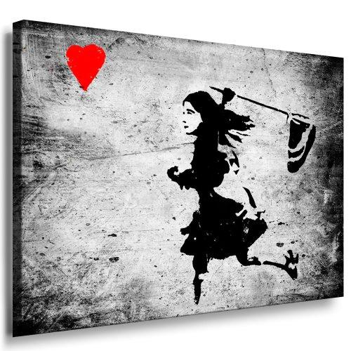 Banksy Street Art Graffiti - Dolk Girl Herz Leinwand Bild fertig auf Keilrahmen - Kunstdrucke, Leinwandbilder, Wandbilder, Poster, Gemälde, Pop Art Deko Kunst Bilder - Pop-kunst-boxer