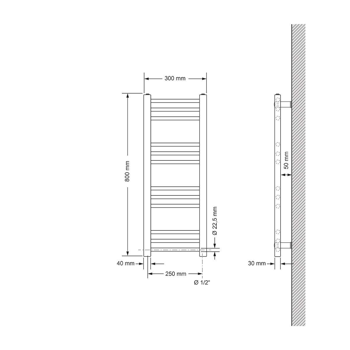 Dise/ño Plano Diferentes tama/ños y modelos 300 x 800 mm 300W ECD Germany Radiador toallero el/éctrico Radiadores para ba/ños