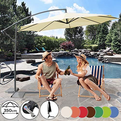 Sonnenschirm Ø 350cm in Farbwahl | mit Handkurbel zum Aufspannen,Wasserabweisender Schirmbezug, inkl. Ständer | Ampelschirm, Gartenschirm, Kurbelschirm, Marktschirm, Sonnenschutz für Balkon, Garten, Tarasse